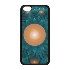 Beautiful Orange Teal Fractal Lotus Lily Pad Pond Apple Iphone 5c Seamless Case (black) by beautifulfractals