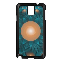 Beautiful Orange Teal Fractal Lotus Lily Pad Pond Samsung Galaxy Note 3 N9005 Case (black) by jayaprime