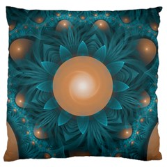 Beautiful Orange Teal Fractal Lotus Lily Pad Pond Large Flano Cushion Case (one Side) by beautifulfractals