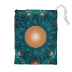 Beautiful Orange Teal Fractal Lotus Lily Pad Pond Drawstring Pouches (extra Large) by beautifulfractals