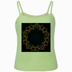 Blue Gold Look Stars Christmas Wreath Green Spaghetti Tank by yoursparklingshop