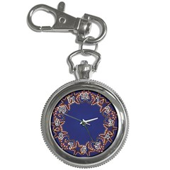 Blue Gold Look Stars Christmas Wreath Key Chain Watches by yoursparklingshop