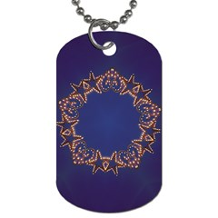 Blue Gold Look Stars Christmas Wreath Dog Tag (two Sides) by yoursparklingshop