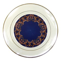 Blue Gold Look Stars Christmas Wreath Porcelain Plates by yoursparklingshop