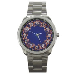 Blue Gold Look Stars Christmas Wreath Sport Metal Watch by yoursparklingshop