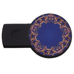 Blue Gold Look Stars Christmas Wreath Usb Flash Drive Round (4 Gb) by yoursparklingshop