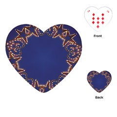 Blue Gold Look Stars Christmas Wreath Playing Cards (heart)  by yoursparklingshop
