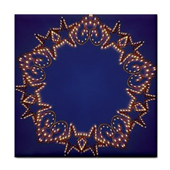 Blue Gold Look Stars Christmas Wreath Face Towel by yoursparklingshop