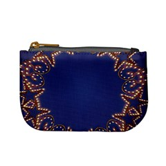 Blue Gold Look Stars Christmas Wreath Mini Coin Purses by yoursparklingshop