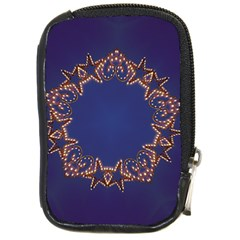 Blue Gold Look Stars Christmas Wreath Compact Camera Cases by yoursparklingshop