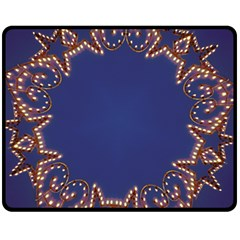 Blue Gold Look Stars Christmas Wreath Fleece Blanket (medium)  by yoursparklingshop