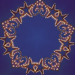 Blue Gold Look Stars Christmas Wreath Magic Photo Cubes by yoursparklingshop