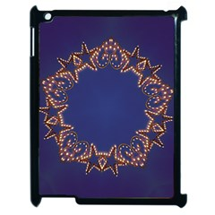 Blue Gold Look Stars Christmas Wreath Apple Ipad 2 Case (black) by yoursparklingshop
