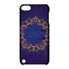 Blue Gold Look Stars Christmas Wreath Apple Ipod Touch 5 Hardshell Case With Stand by yoursparklingshop