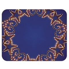 Blue Gold Look Stars Christmas Wreath Double Sided Flano Blanket (medium)  by yoursparklingshop