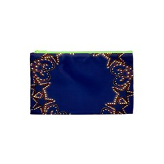 Blue Gold Look Stars Christmas Wreath Cosmetic Bag (xs) by yoursparklingshop