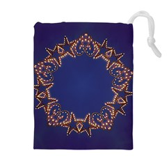 Blue Gold Look Stars Christmas Wreath Drawstring Pouches (extra Large) by yoursparklingshop