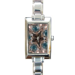 Kaleidoscopic Design Elegant Star Brown Turquoise Rectangle Italian Charm Watch by yoursparklingshop