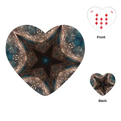 Kaleidoscopic Design Elegant Star Brown Turquoise Playing Cards (heart)  by yoursparklingshop