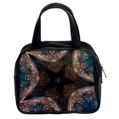 Kaleidoscopic Design Elegant Star Brown Turquoise Classic Handbags (2 Sides) by yoursparklingshop