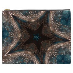 Kaleidoscopic Design Elegant Star Brown Turquoise Cosmetic Bag (xxxl)  by yoursparklingshop