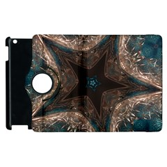 Kaleidoscopic Design Elegant Star Brown Turquoise Apple Ipad 2 Flip 360 Case by yoursparklingshop