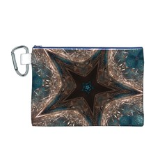 Kaleidoscopic Design Elegant Star Brown Turquoise Canvas Cosmetic Bag (m) by yoursparklingshop
