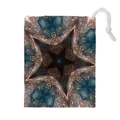 Kaleidoscopic Design Elegant Star Brown Turquoise Drawstring Pouches (extra Large) by yoursparklingshop
