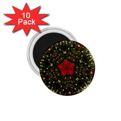 Christmas Wreath Stars Green Red Elegant 1 75  Magnets (10 Pack)  by yoursparklingshop
