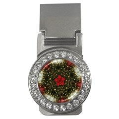 Christmas Wreath Stars Green Red Elegant Money Clips (cz)  by yoursparklingshop