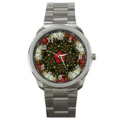Christmas Wreath Stars Green Red Elegant Sport Metal Watch by yoursparklingshop