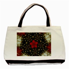 Christmas Wreath Stars Green Red Elegant Basic Tote Bag (two Sides) by yoursparklingshop