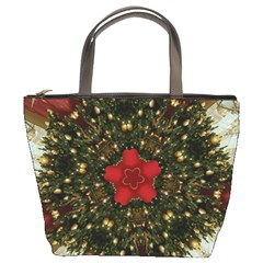 Christmas Wreath Stars Green Red Elegant Bucket Bags by yoursparklingshop