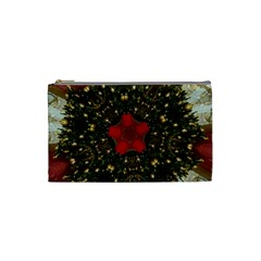 Christmas Wreath Stars Green Red Elegant Cosmetic Bag (small)  by yoursparklingshop