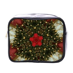Christmas Wreath Stars Green Red Elegant Mini Toiletries Bags by yoursparklingshop