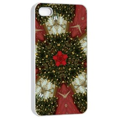 Christmas Wreath Stars Green Red Elegant Apple Iphone 4/4s Seamless Case (white) by yoursparklingshop