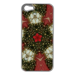 Christmas Wreath Stars Green Red Elegant Apple Iphone 5 Case (silver) by yoursparklingshop