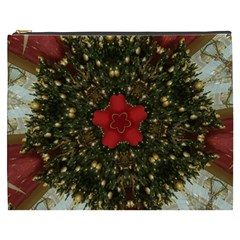 Christmas Wreath Stars Green Red Elegant Cosmetic Bag (xxxl)  by yoursparklingshop