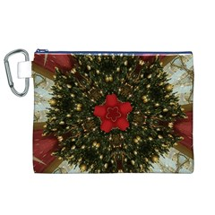 Christmas Wreath Stars Green Red Elegant Canvas Cosmetic Bag (xl) by yoursparklingshop