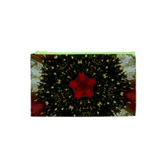 Christmas Wreath Stars Green Red Elegant Cosmetic Bag (xs) by yoursparklingshop