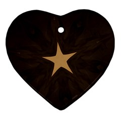 Rustic Elegant Brown Christmas Star Design Ornament (heart) by yoursparklingshop