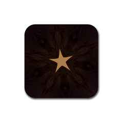 Rustic Elegant Brown Christmas Star Design Rubber Square Coaster (4 Pack)  by yoursparklingshop