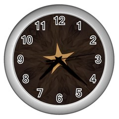 Rustic Elegant Brown Christmas Star Design Wall Clocks (silver)  by yoursparklingshop