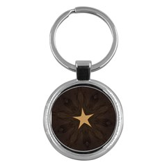 Rustic Elegant Brown Christmas Star Design Key Chains (round)  by yoursparklingshop
