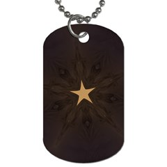 Rustic Elegant Brown Christmas Star Design Dog Tag (two Sides) by yoursparklingshop