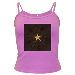 Rustic Elegant Brown Christmas Star Design Dark Spaghetti Tank by yoursparklingshop