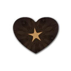 Rustic Elegant Brown Christmas Star Design Heart Coaster (4 Pack)  by yoursparklingshop
