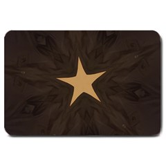 Rustic Elegant Brown Christmas Star Design Large Doormat  by yoursparklingshop