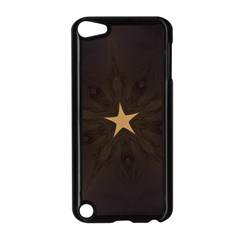 Rustic Elegant Brown Christmas Star Design Apple Ipod Touch 5 Case (black) by yoursparklingshop