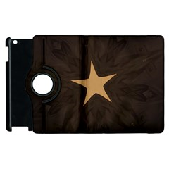 Rustic Elegant Brown Christmas Star Design Apple Ipad 3/4 Flip 360 Case by yoursparklingshop